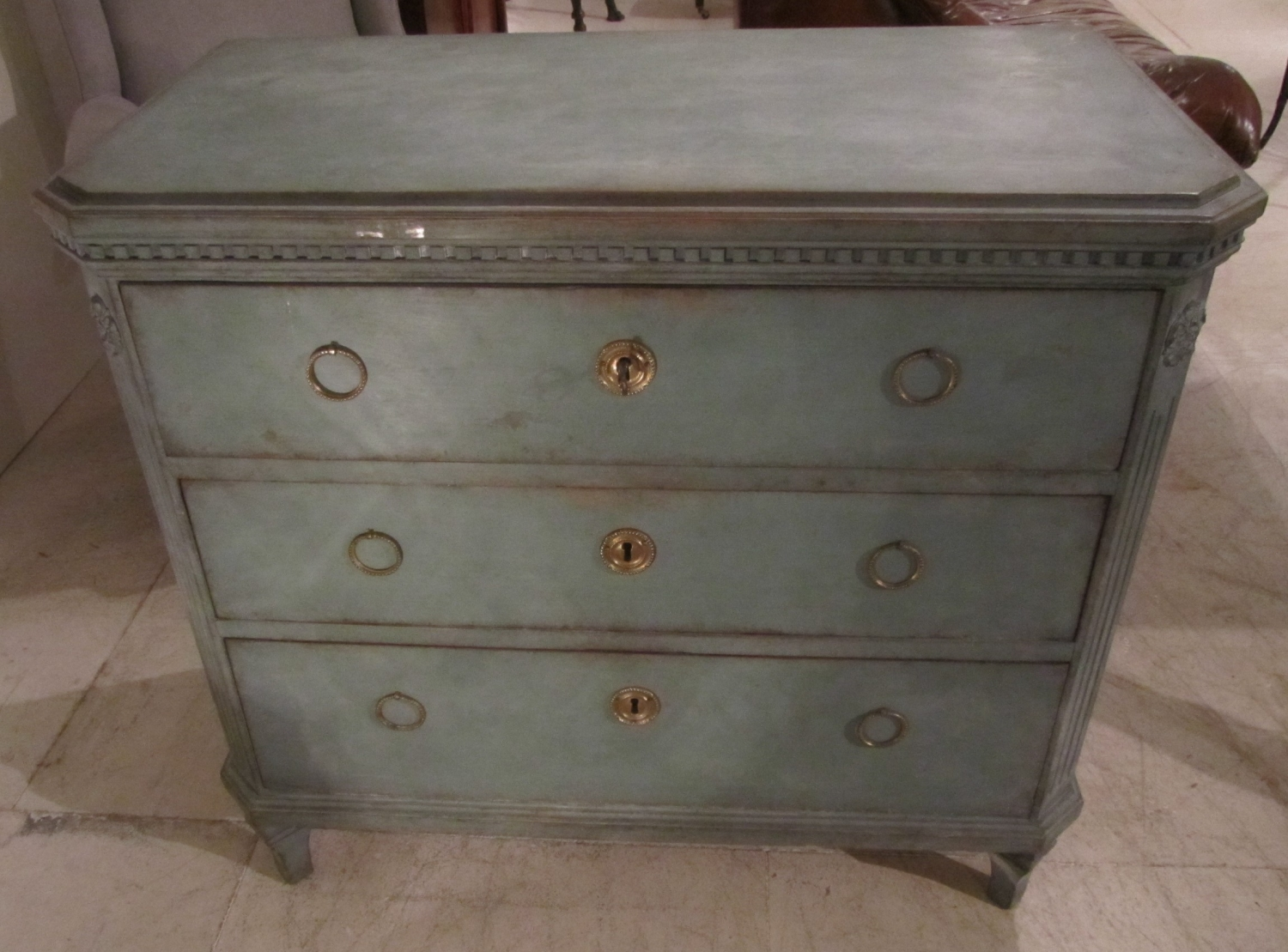 A Swedish painted chest of drawers