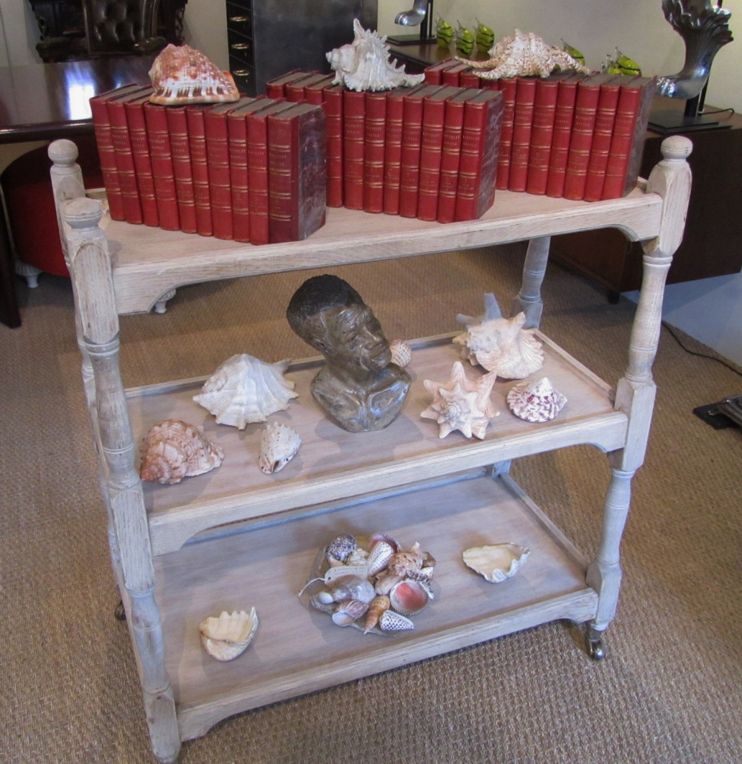 A bleached oak trolley/buffet