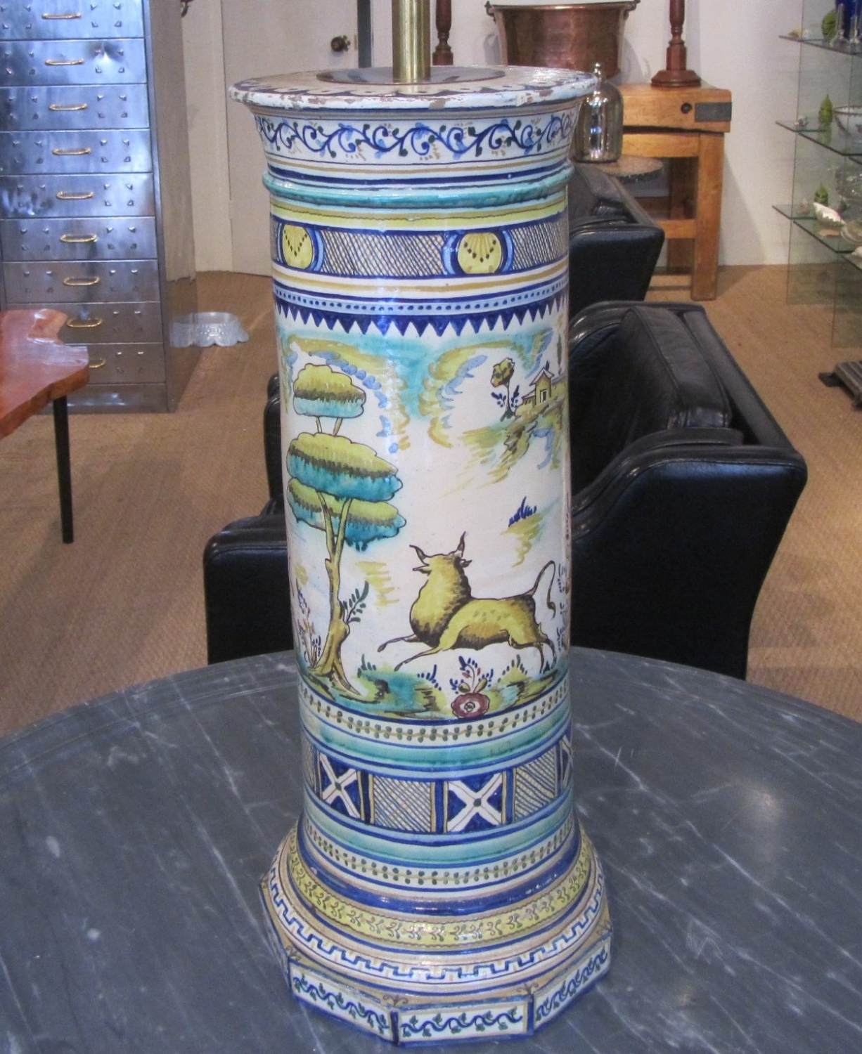 A Maiolica column lamp