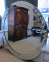 A large round punted mirror - picture 4