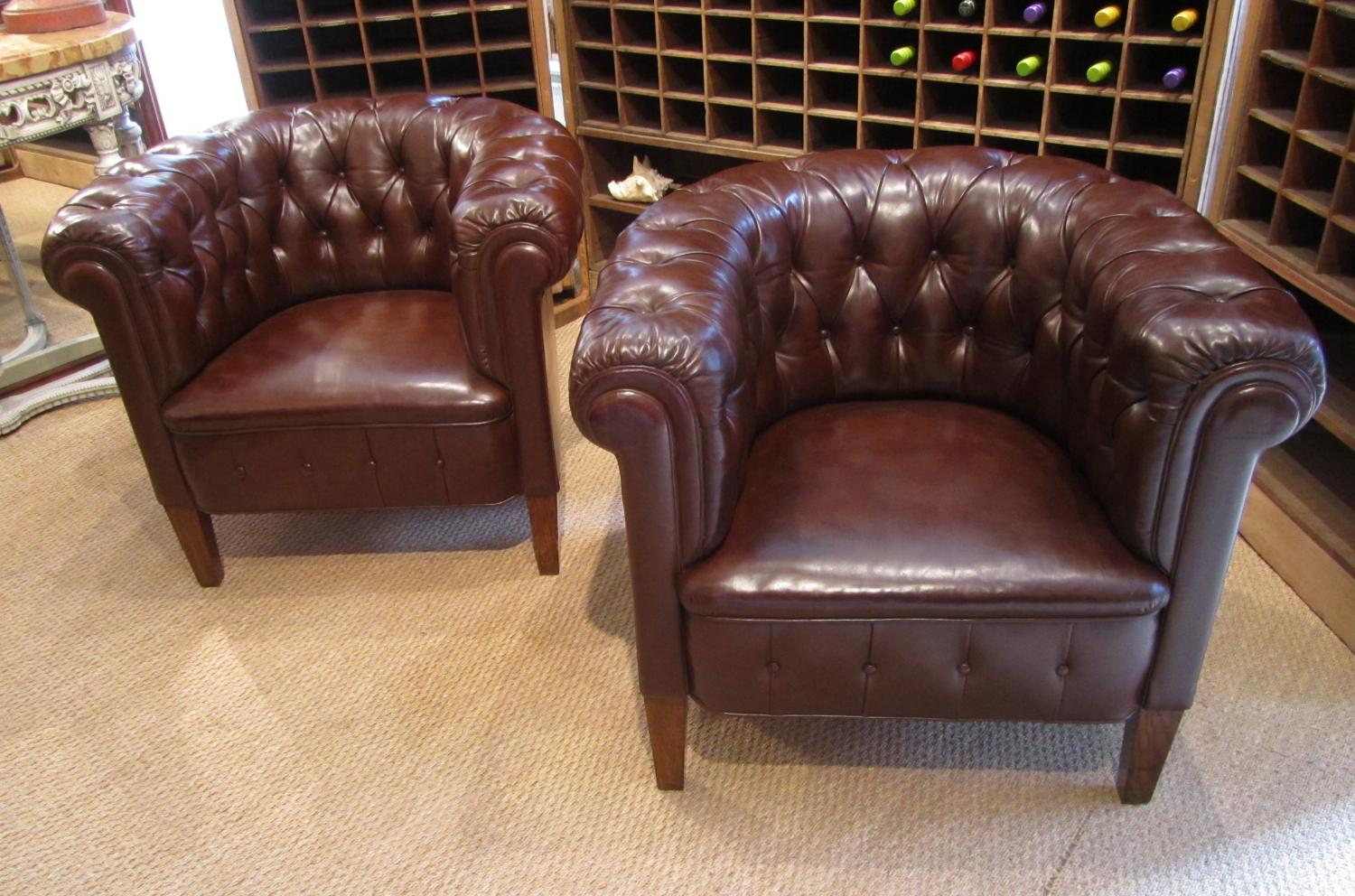 A pair of Swedish leather chairs