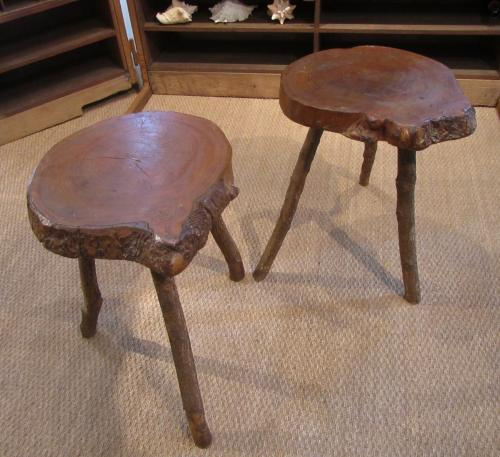 A pair of wooden grotto stools
