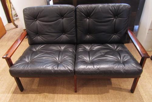 A two seat leather sofa