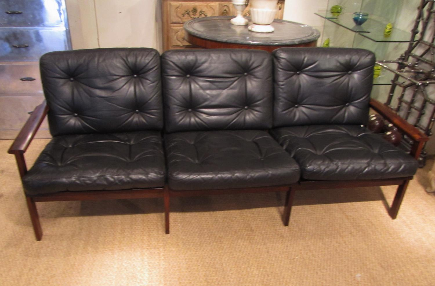 A three seater leather sofa