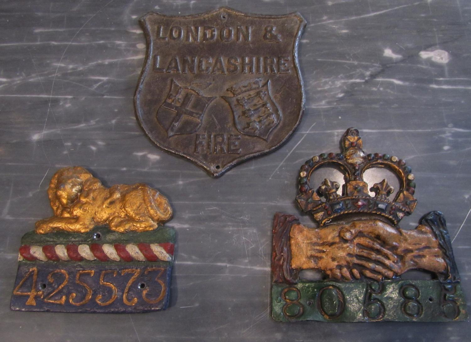 3 19thC lead fire plaques