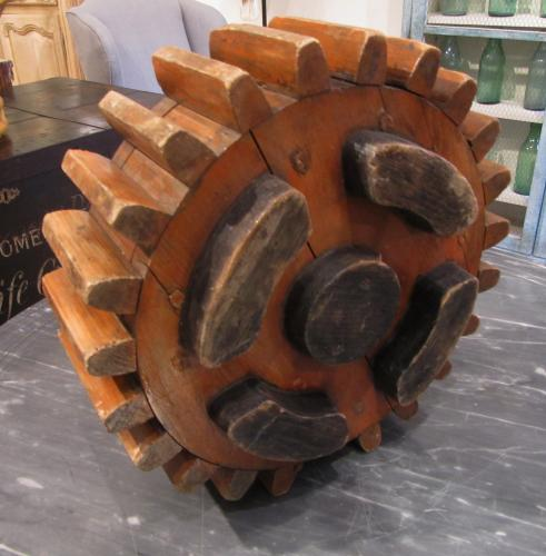 A set of wooden cogs