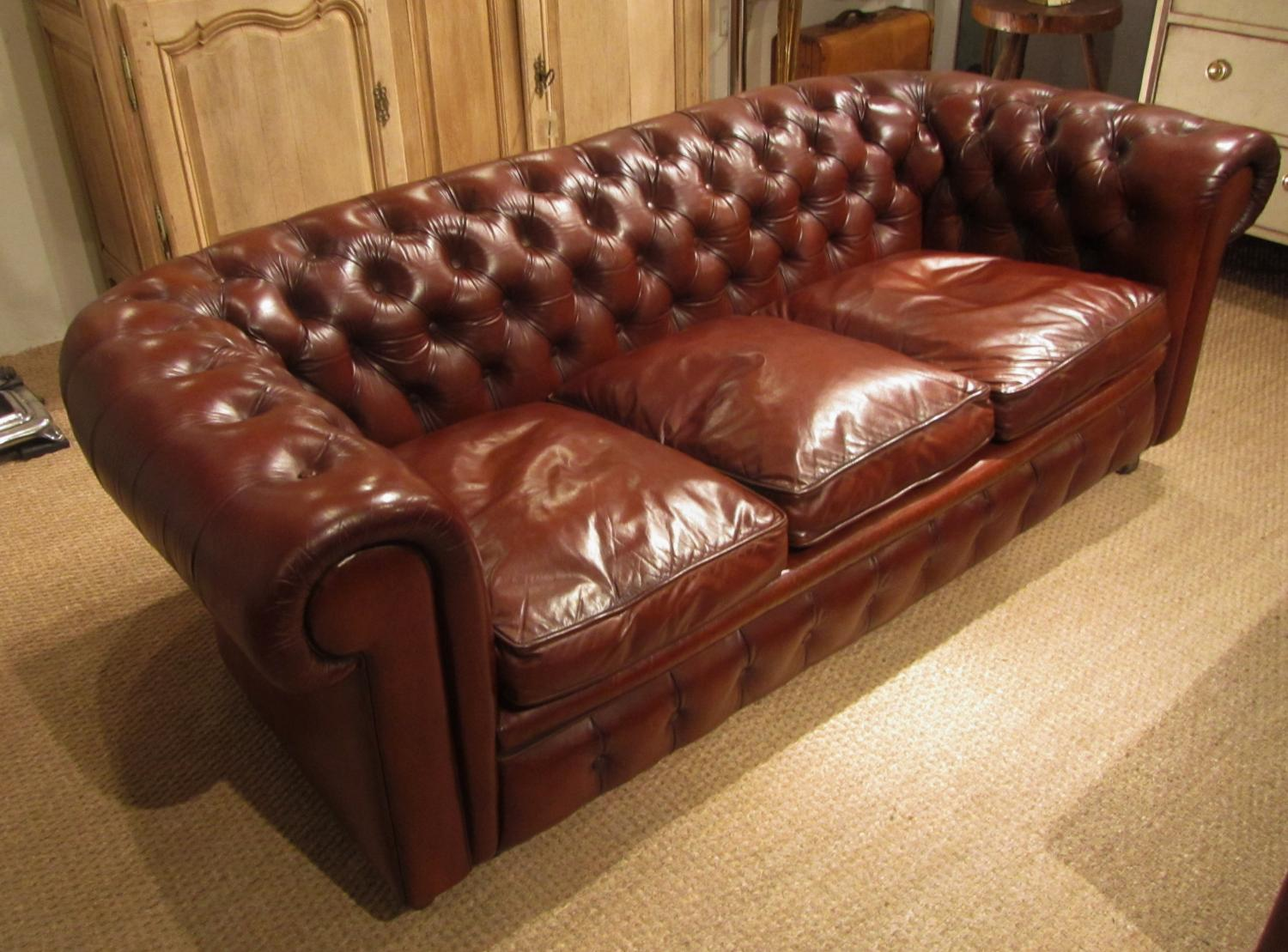 A leather chesterfield sofa