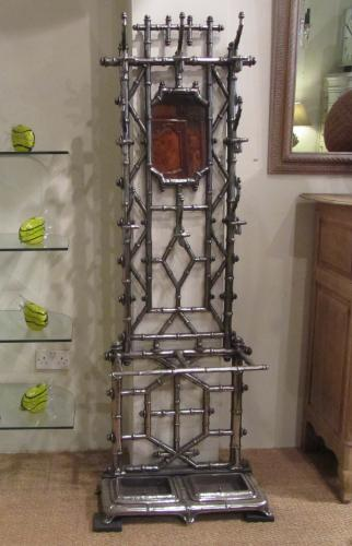A faux bamboo hall stand