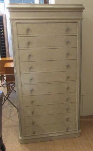 A painted ten drawer chest
