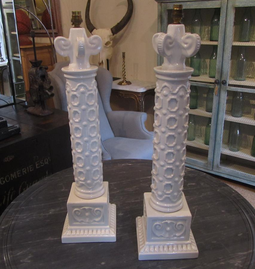 A pair of ceramic table lamps