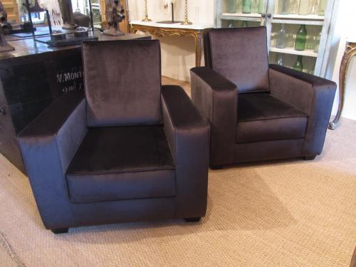 A pair of Art Deco club chairs