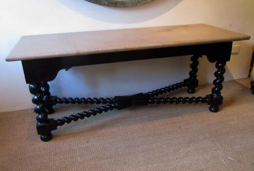 A 18thC barley twist table with stone top