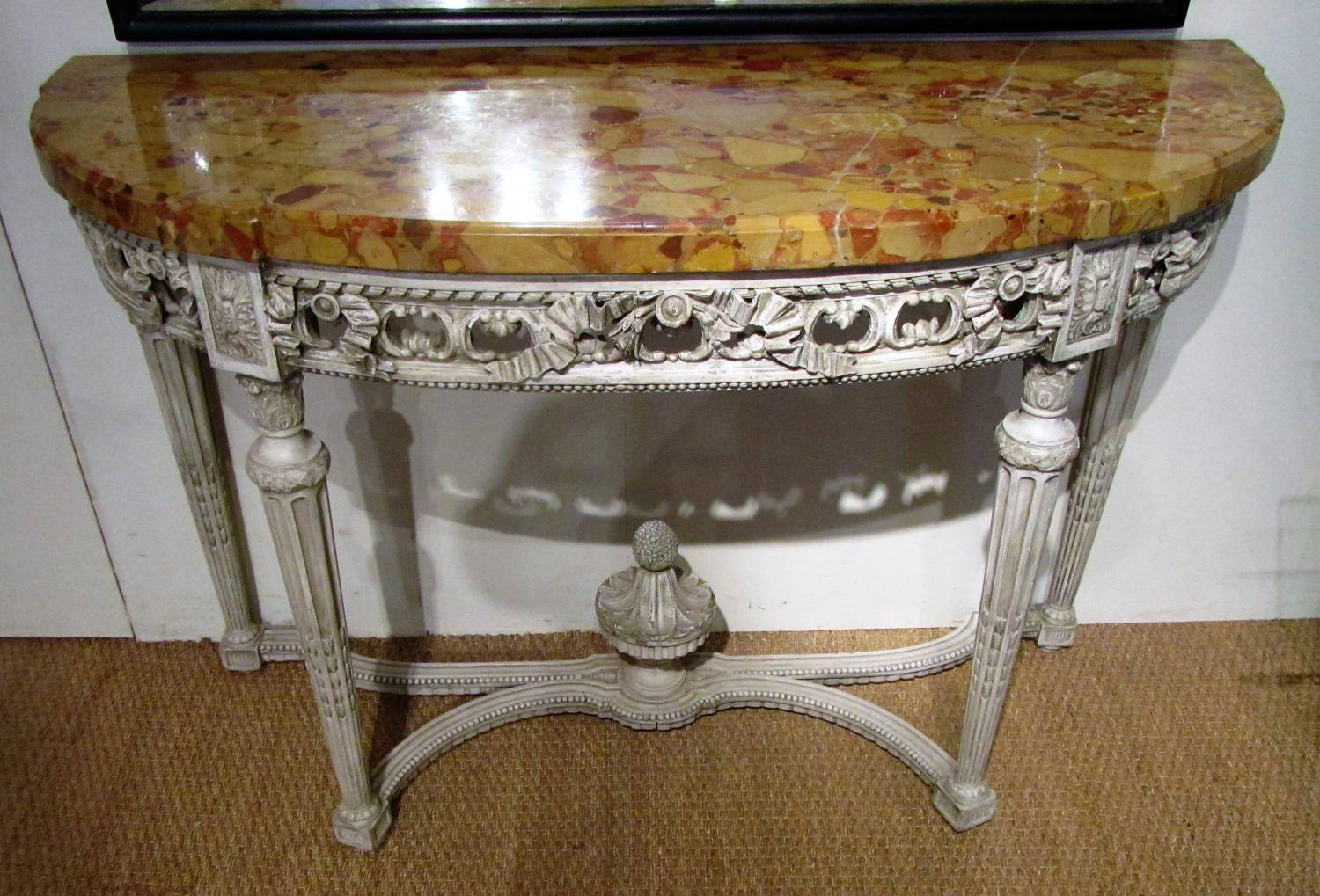 A 19thC French painted wood console table
