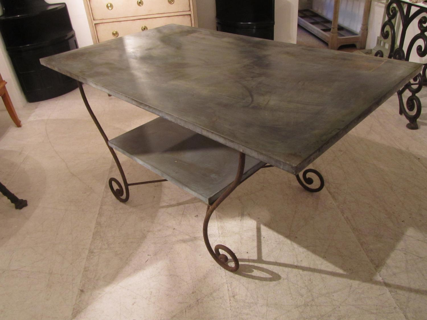A Zinc and iron potting table