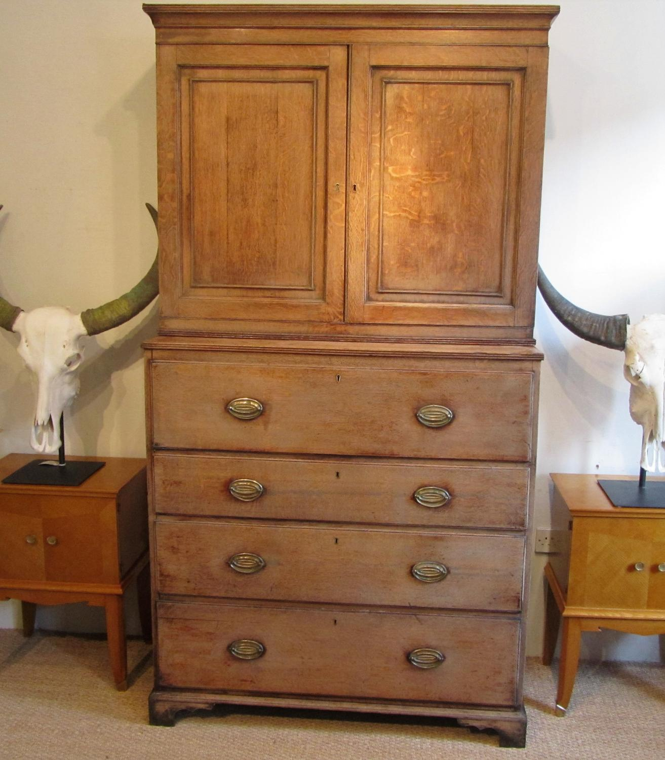 An Oak secretaire book case
