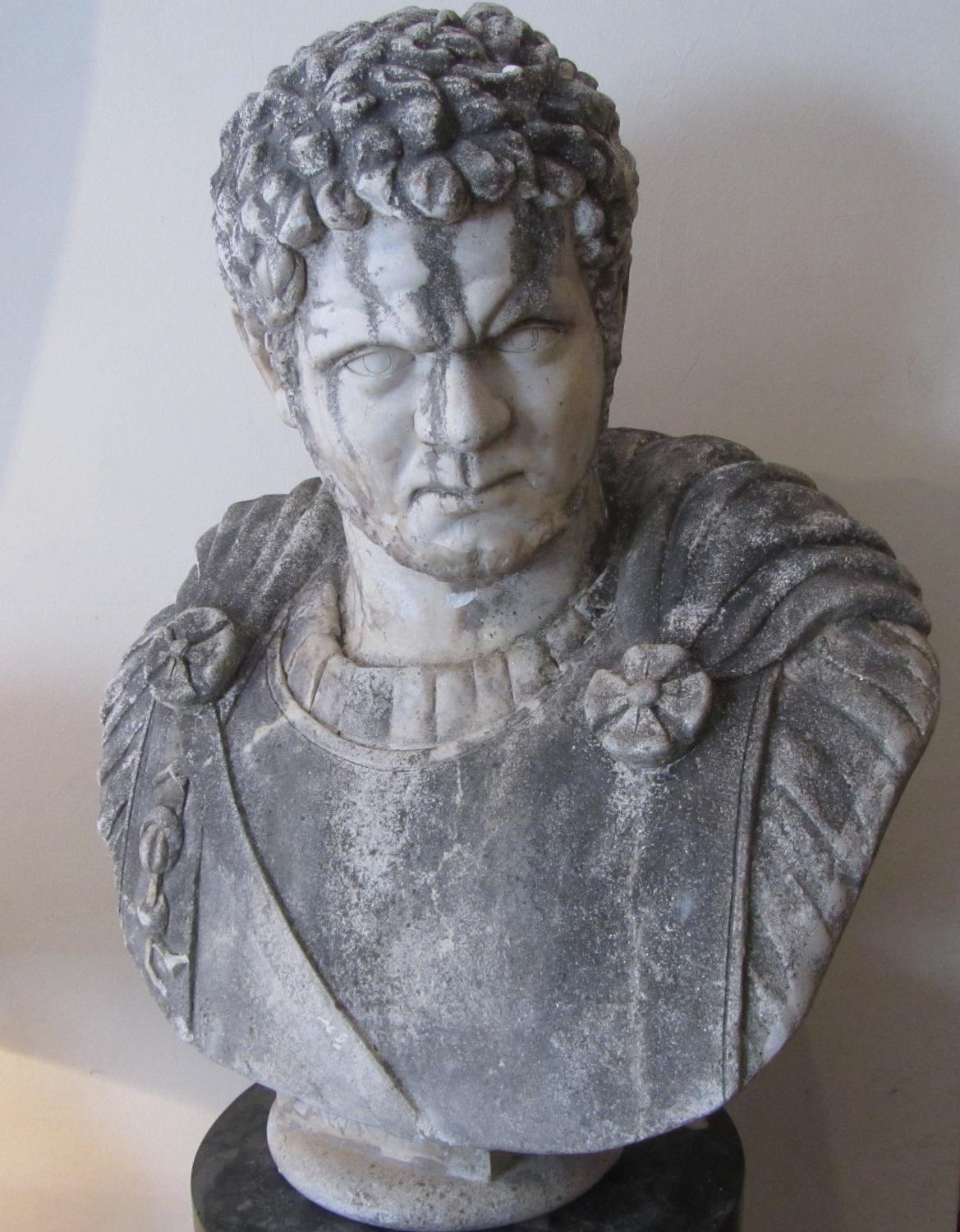 A bust of Roman emperor Caracalla