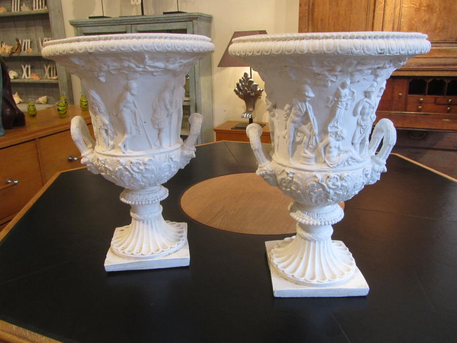 A pair of terracotta classical urns