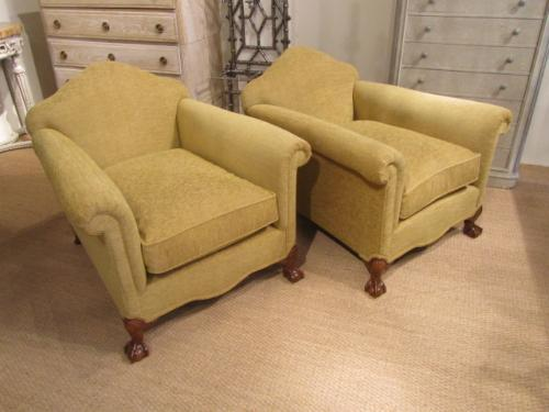 A pair of Edwardian armchairs