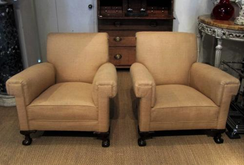 A pair of large armchairs