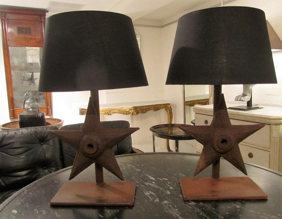 A pair of iron table lamps