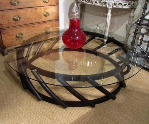 A large circular coffee table
