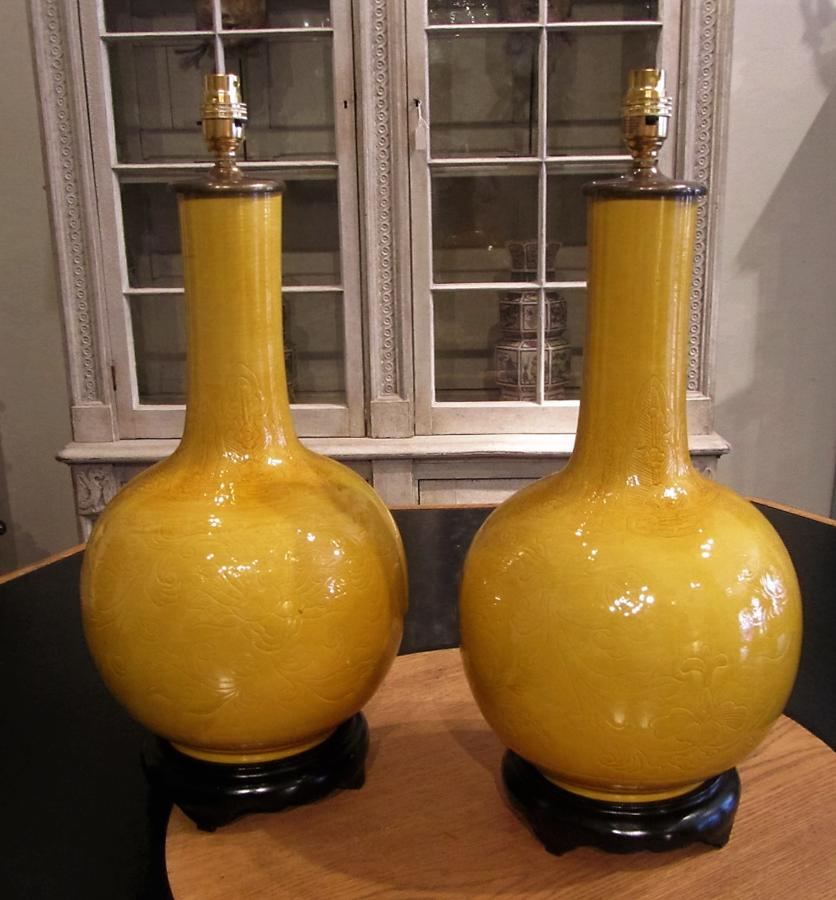 A pair of Chinese vase lamps