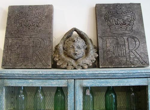 A pair of royal Portland stone panels