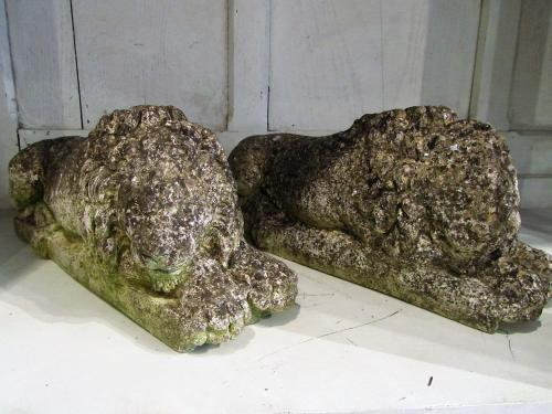 A pair of composite stone lions