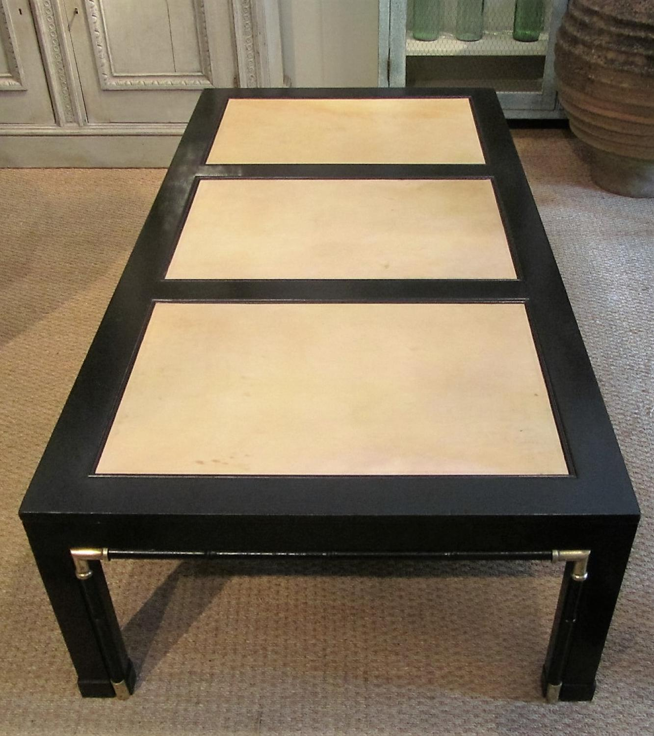 A black lacquer coffee table