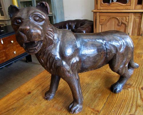 A carved wood lion