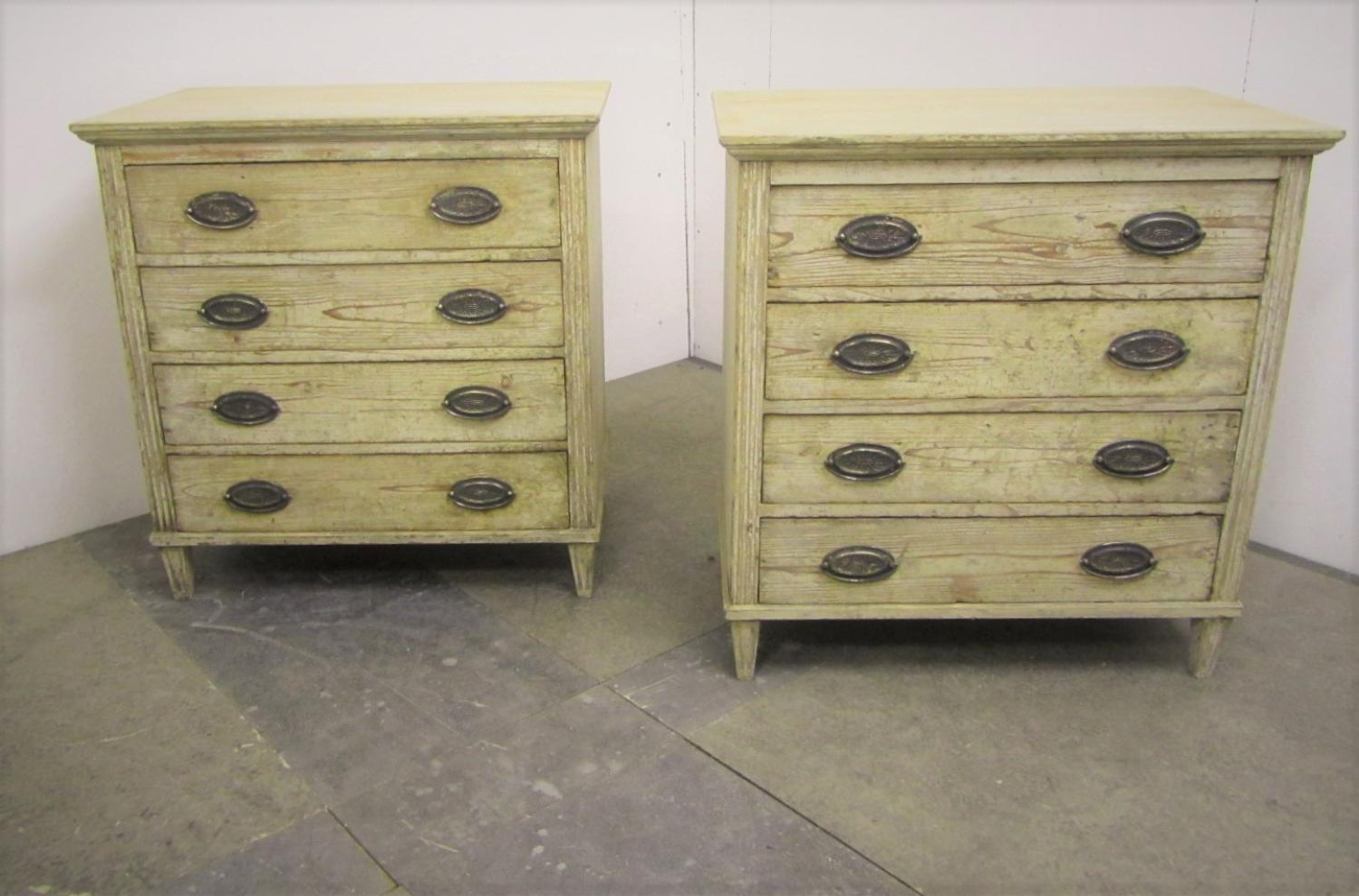 A pair of painted Swedish commodes