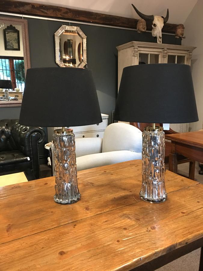 A pair of silvered Orrefors table lamps