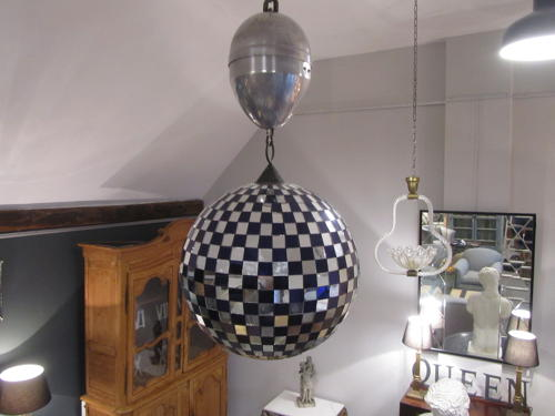 A mirrored ballroom glitter ball with motor