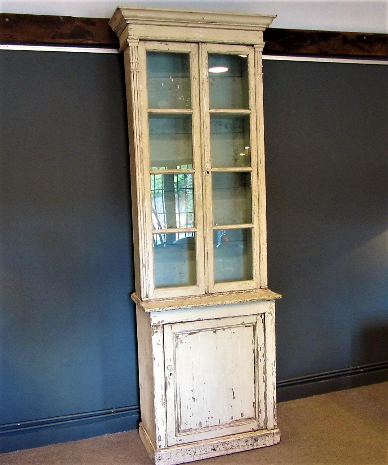 A French painted bookcase vitrine cabinet