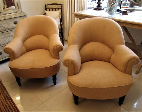 A pair of French 19thC tub chairs