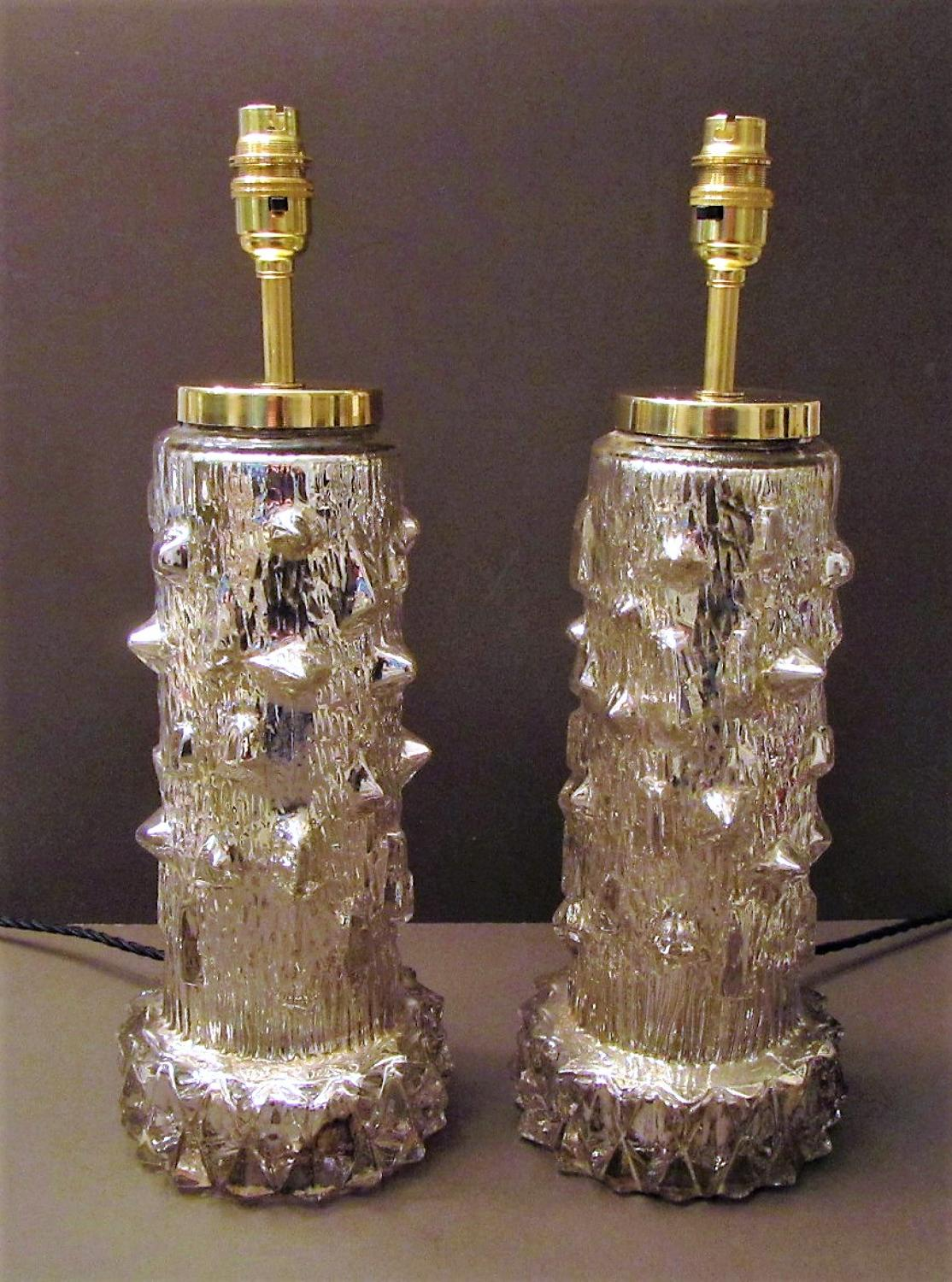 A pair Swedish of Orrefors table lamps