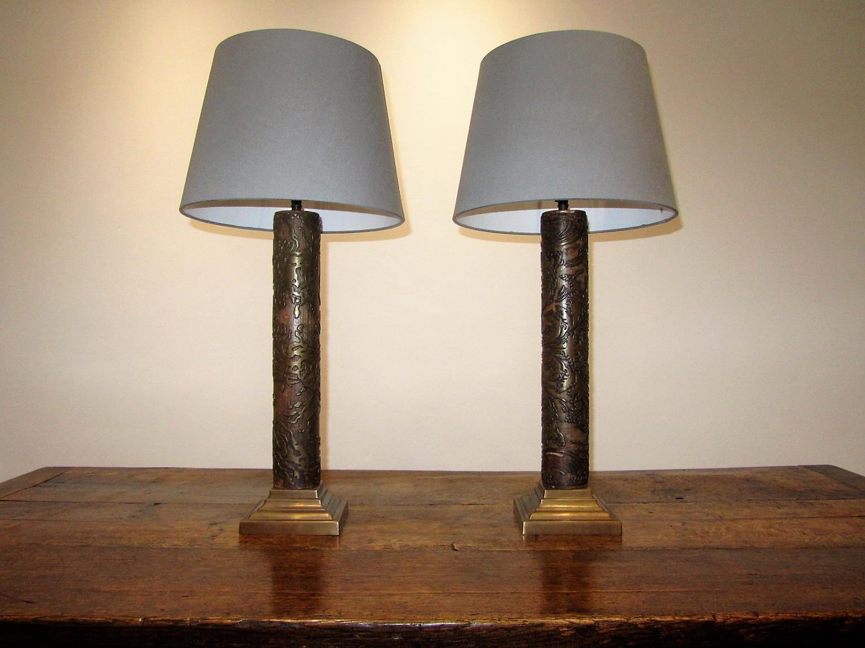 A pair of printing block lamps