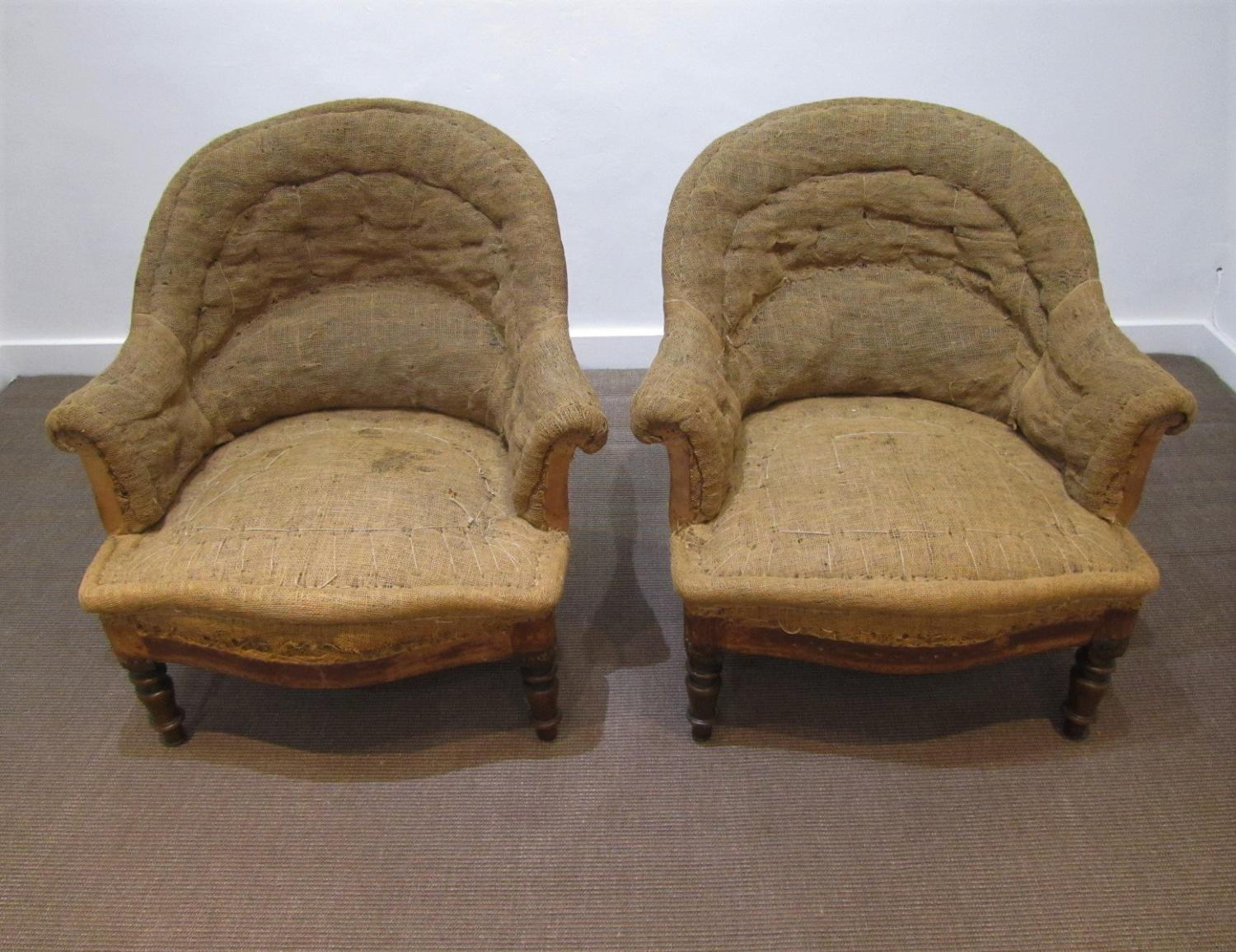 A pair of Napoleon III crapaud chairs