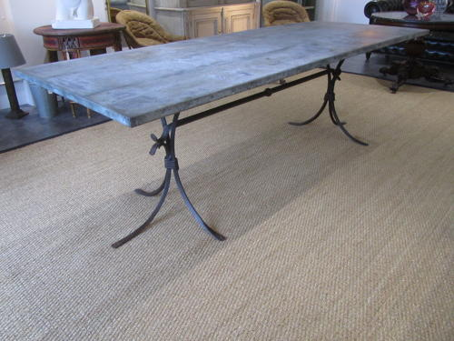 A large zinc top iron terrace table