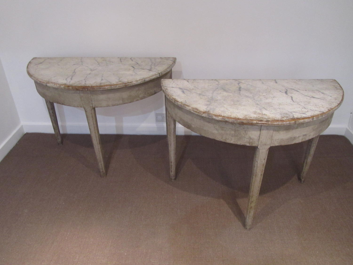 A pair of Swedish painted demi lunes