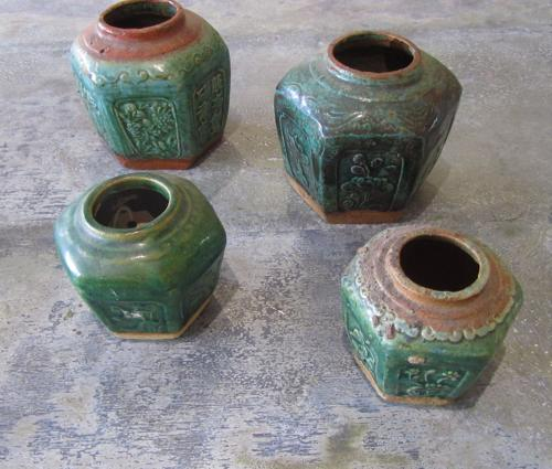 A collection of Shiwan jade glazed jars