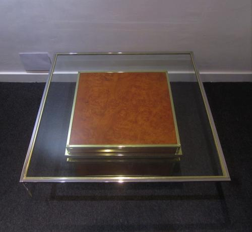 A burr walnut brass and chrome Zevi coffee table