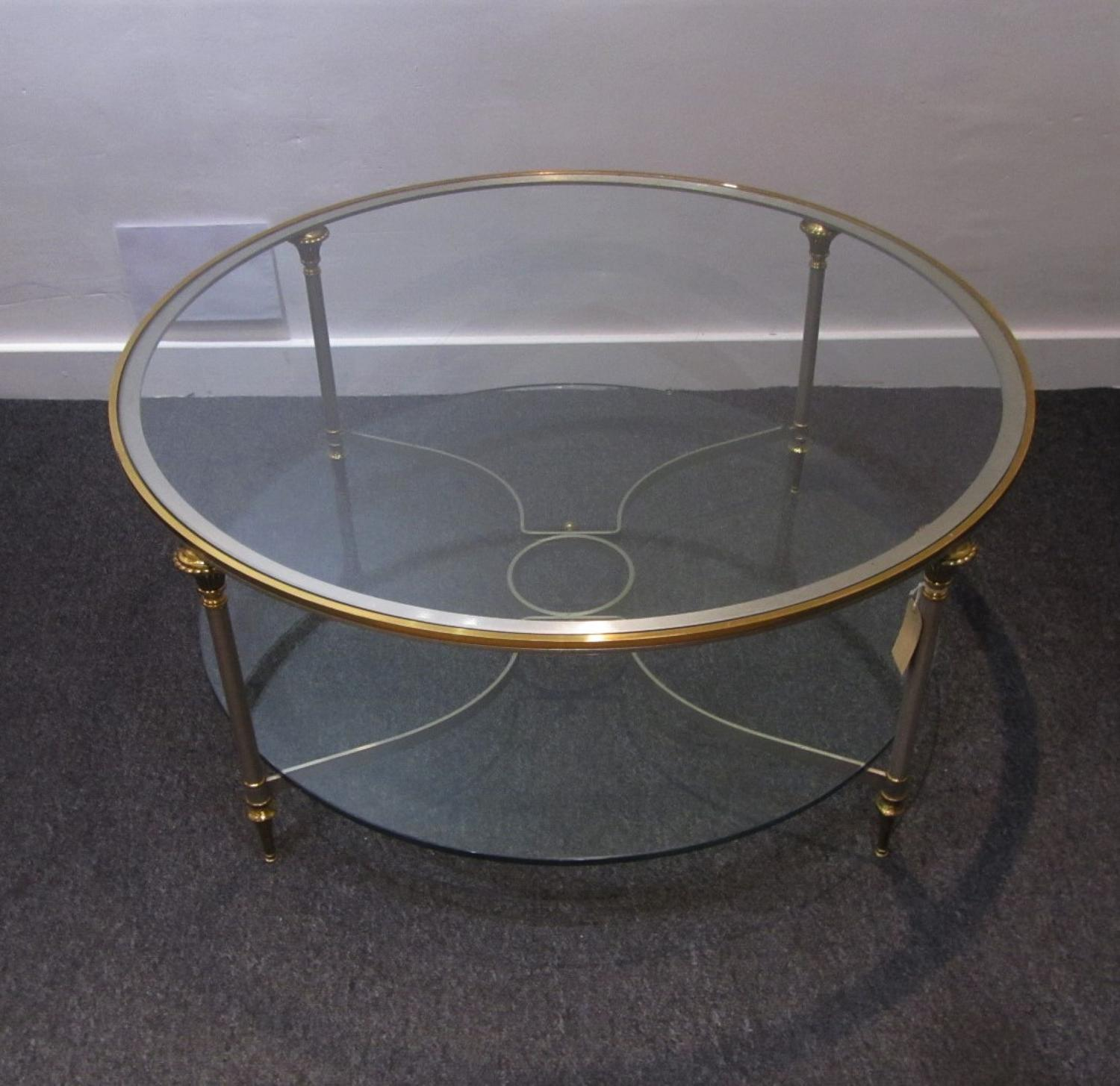A circular Maison Jansen coffee table