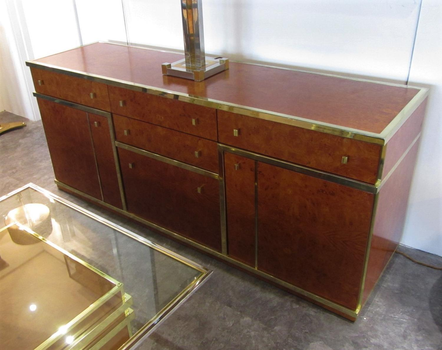 An Italian burr walnut sideboard