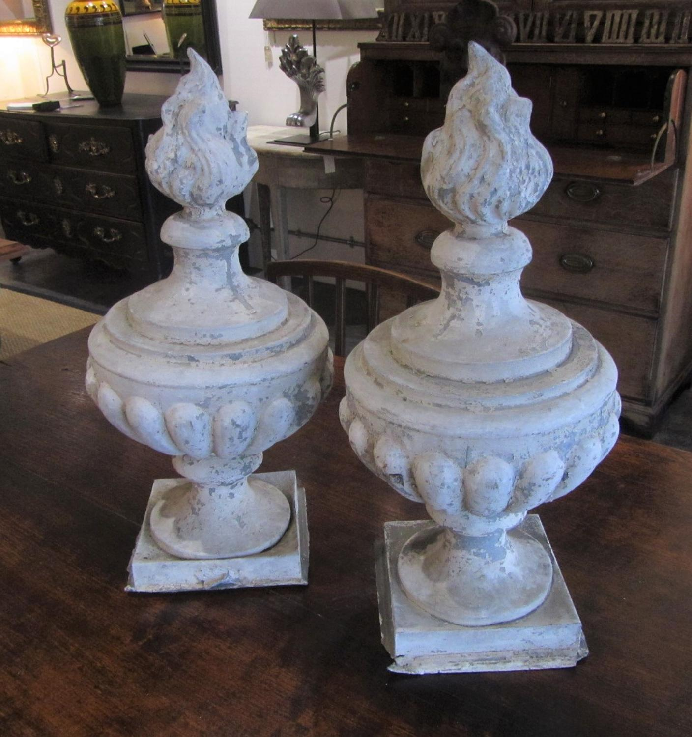 A pair of Zinc Flambeau finials
