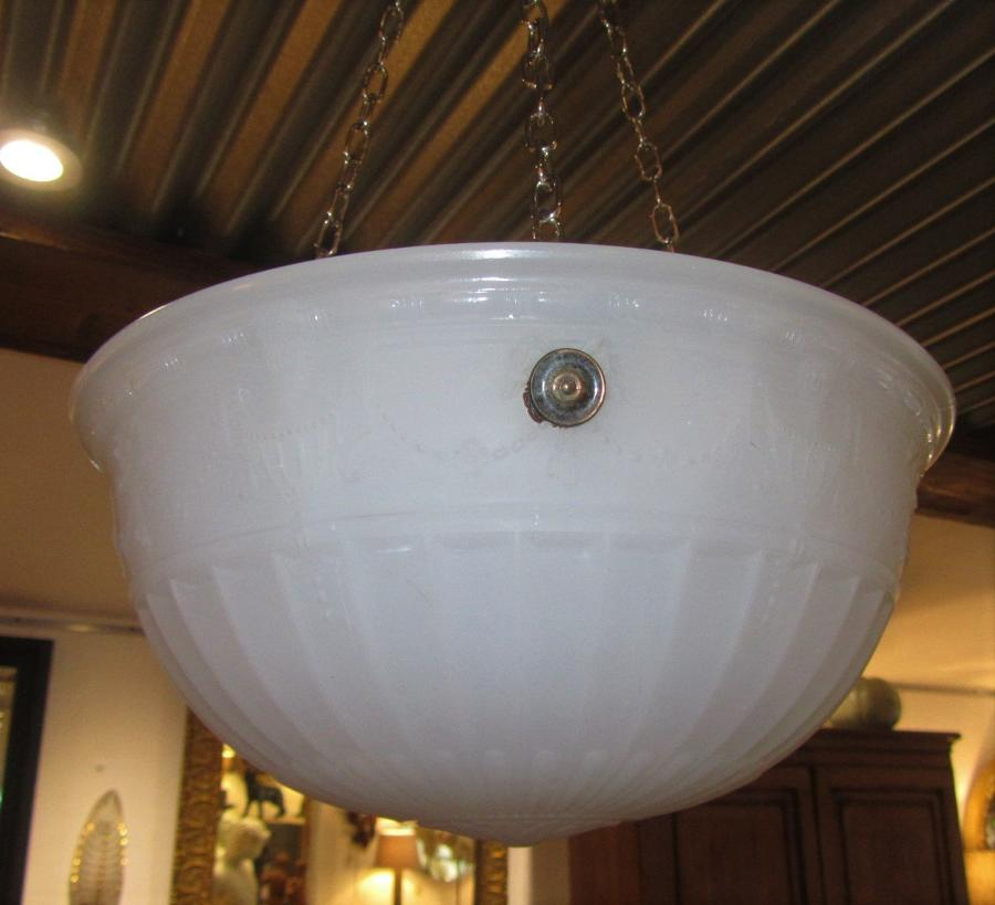 A milk glass plaffonier light