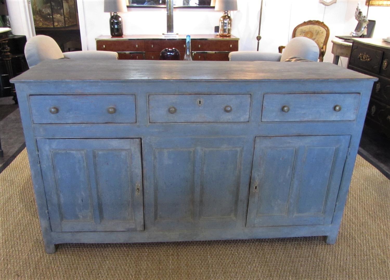 A painted pine Georgian dresser base