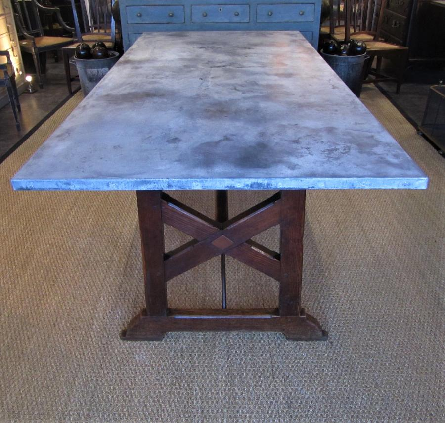A French 19thC zinc and pine refectory table