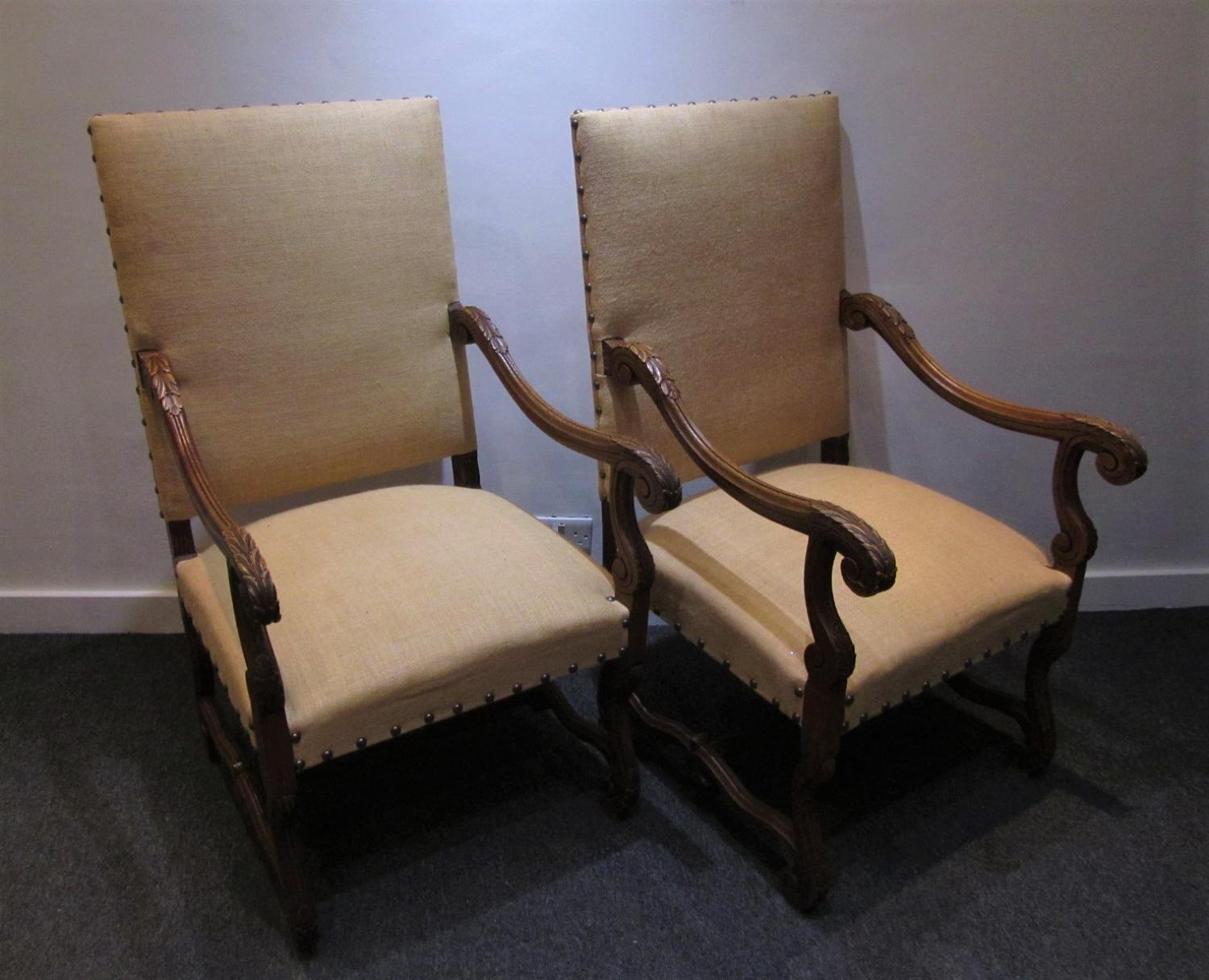 A pair of throne chairs