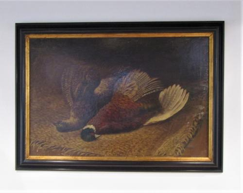 A painting of a brace of pheasants